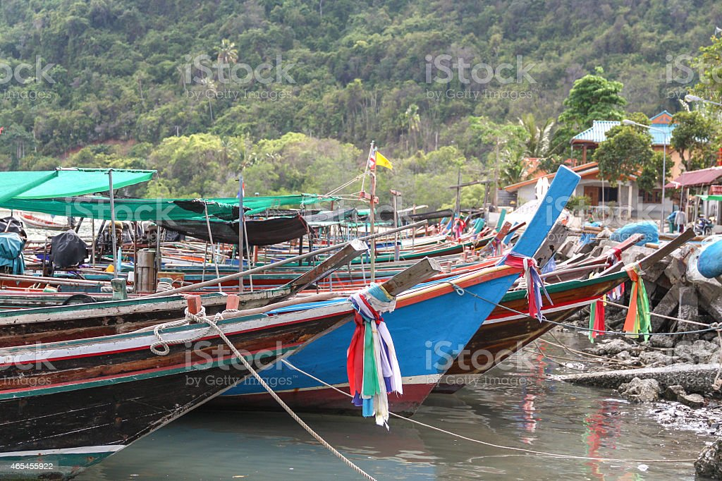 Fishing both at the harbour royalty-free stock photo