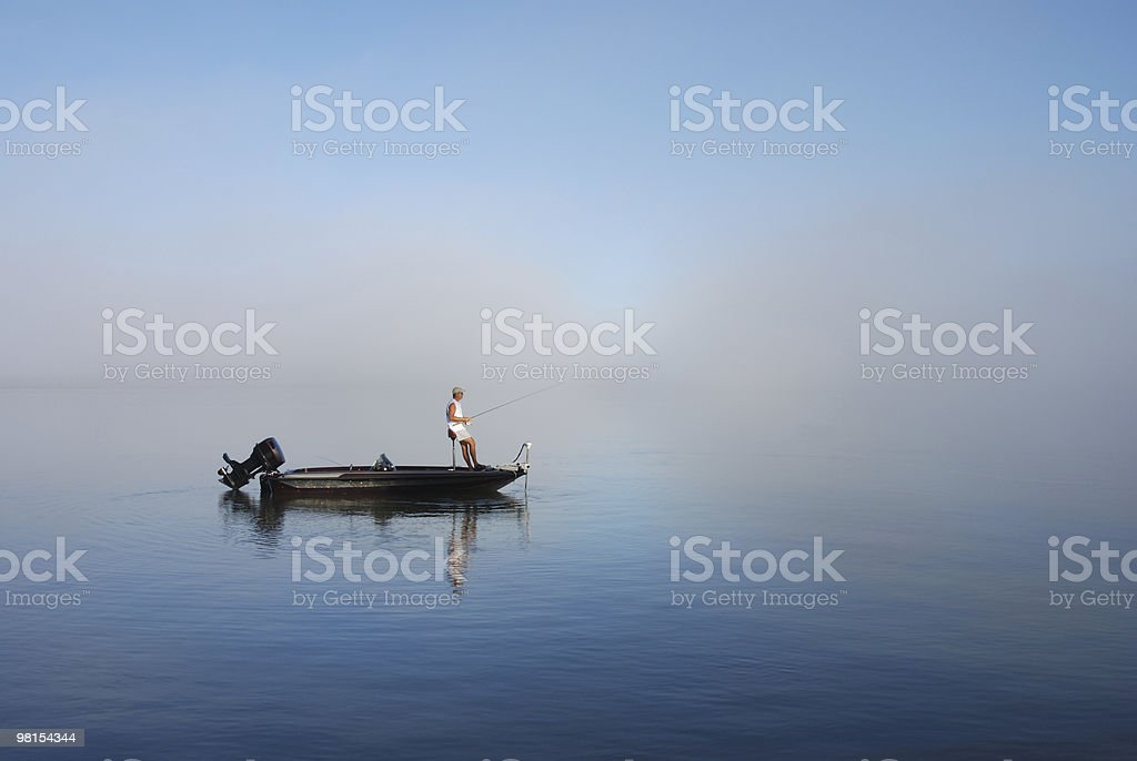 Fishing by boat on East Bay Florida stock photo