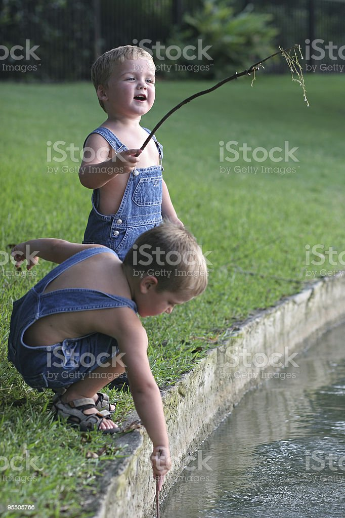 Fishing by the lake:  I caught one! royalty-free stock photo