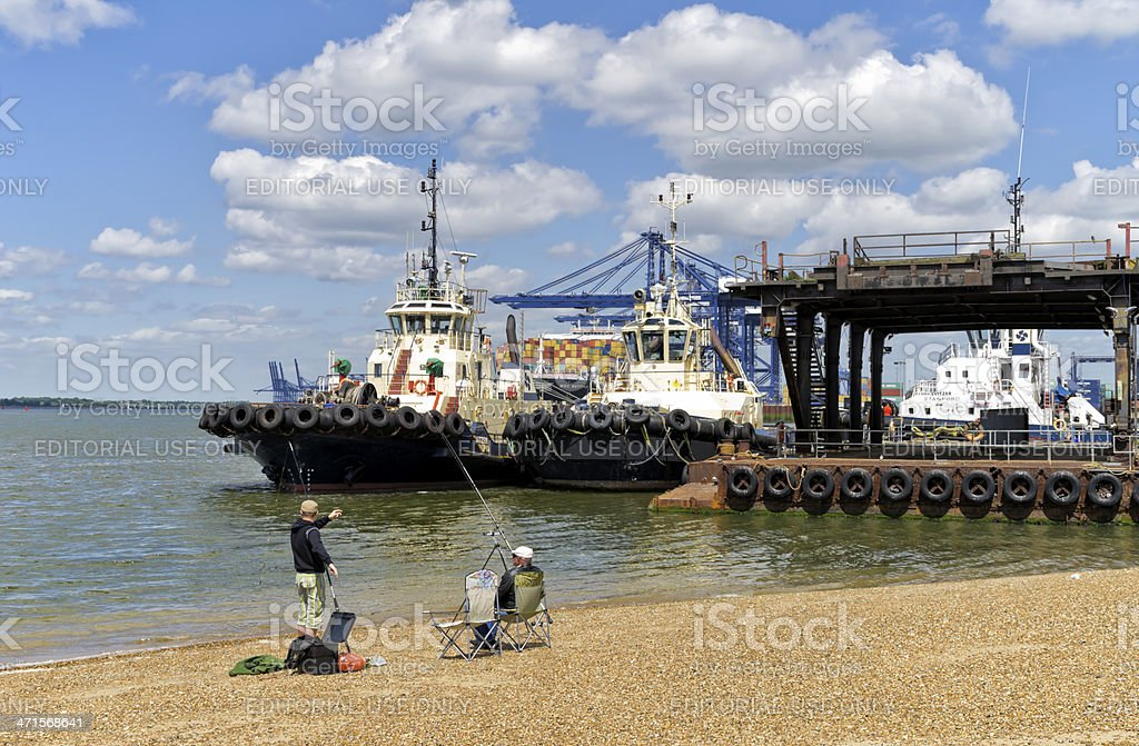 Fishing by the Orwell at Felixstowe royalty-free stock photo