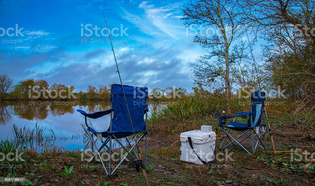 Fishing by the River stock photo