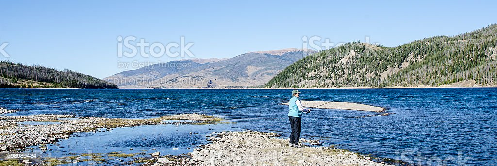 Fishing by the Shore of Lake Dillon stock photo