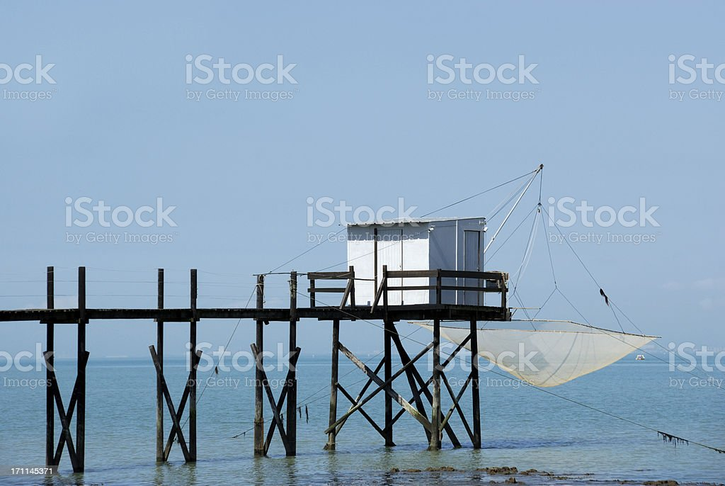 Fishing Cabin and Carrelet Net near La Rochelle stock photo