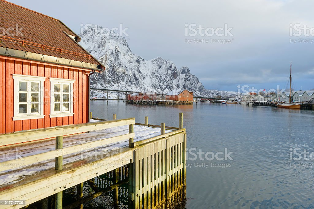 Fishing cabin in the port of Svolvaer in Norway stock photo