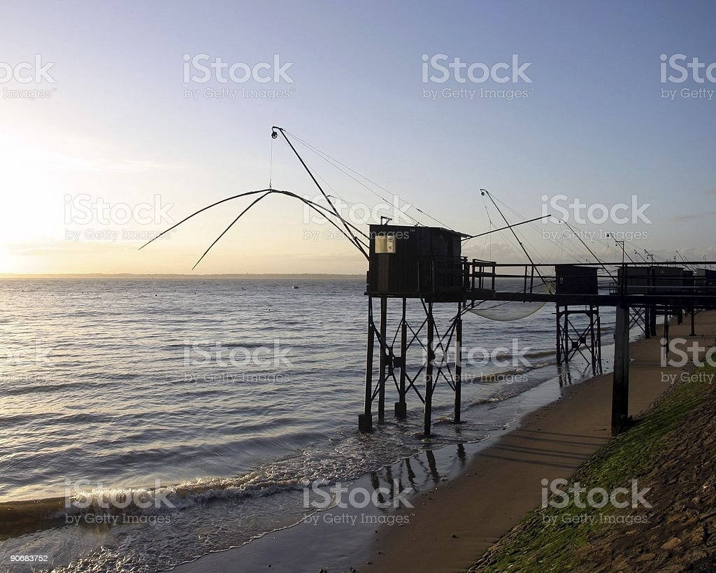 fishing cabins at low tide royalty-free stock photo
