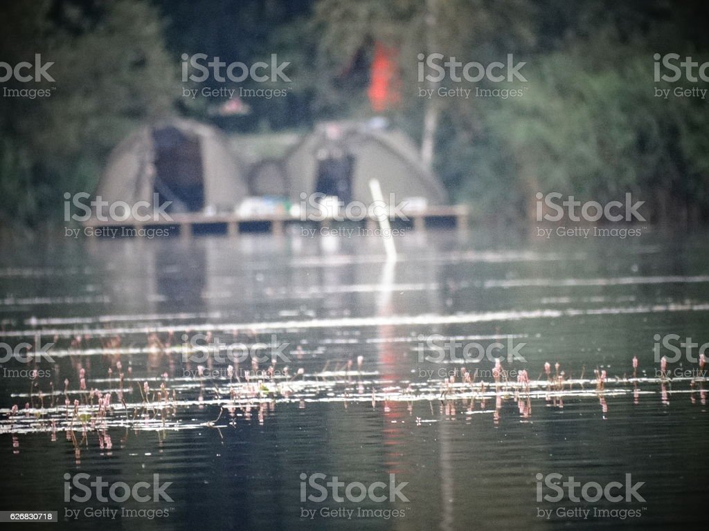 fishing camping tent stock photo