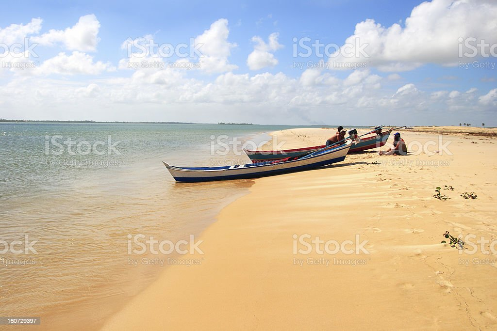 Fishing Canoes by the beach (Brazil) royalty-free stock photo