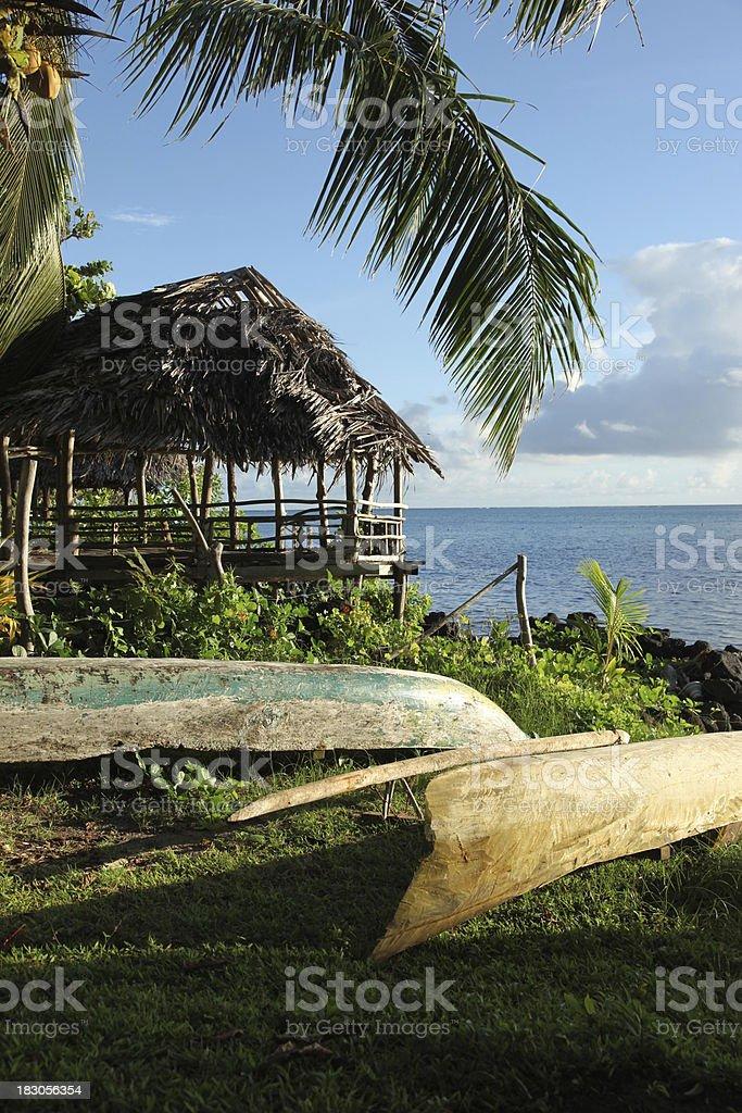 Fishing canoes in Manono, Samoa stock photo