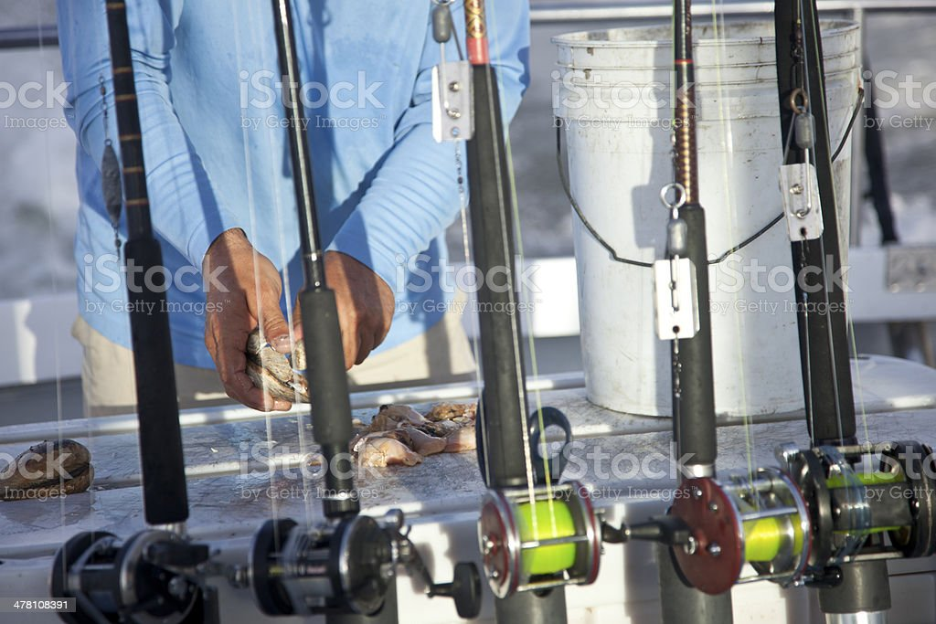 Fishing Charter Preparing Bait for Poles royalty-free stock photo