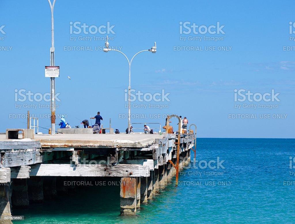 Fishing: Coogee Beach Jetty, Western Australia stock photo