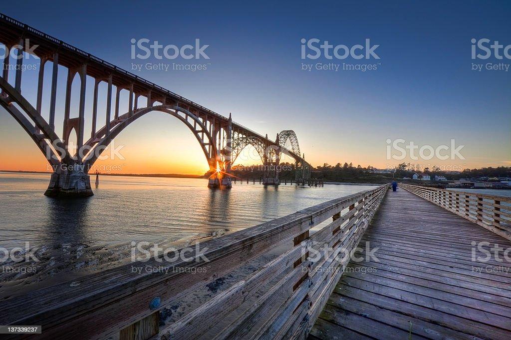 Fishing Dock at Newport Oregon stock photo