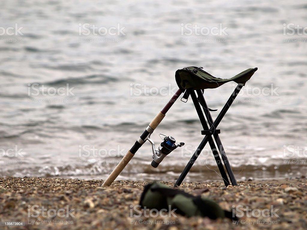 Fishing equipment at the beach stock photo