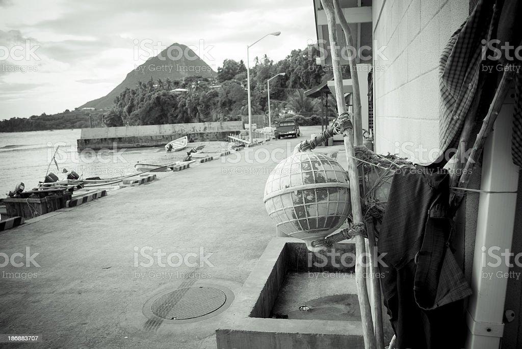 fishing equipment facility in monochrome stock photo