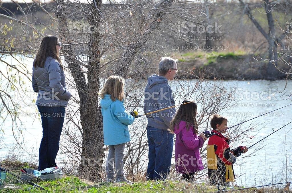 Fishing Family stock photo