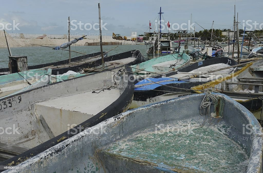 fishing fisherboat ocean mexico telchac pier royalty-free stock photo