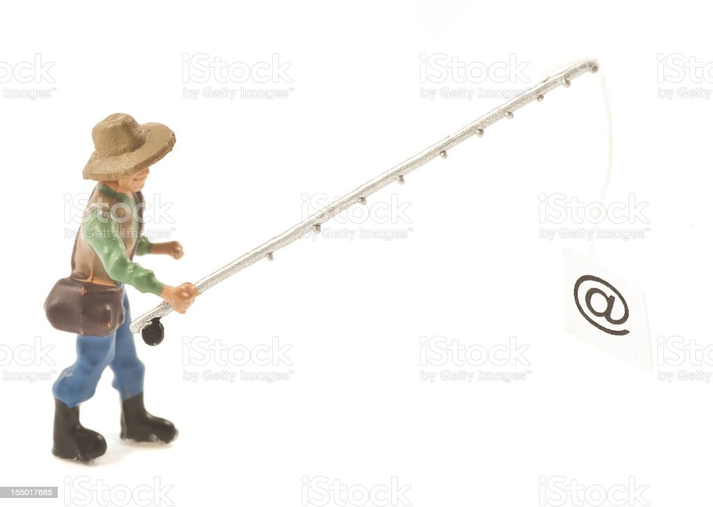 fishing fisherman internet crime with @ abstract and unusual royalty-free stock photo
