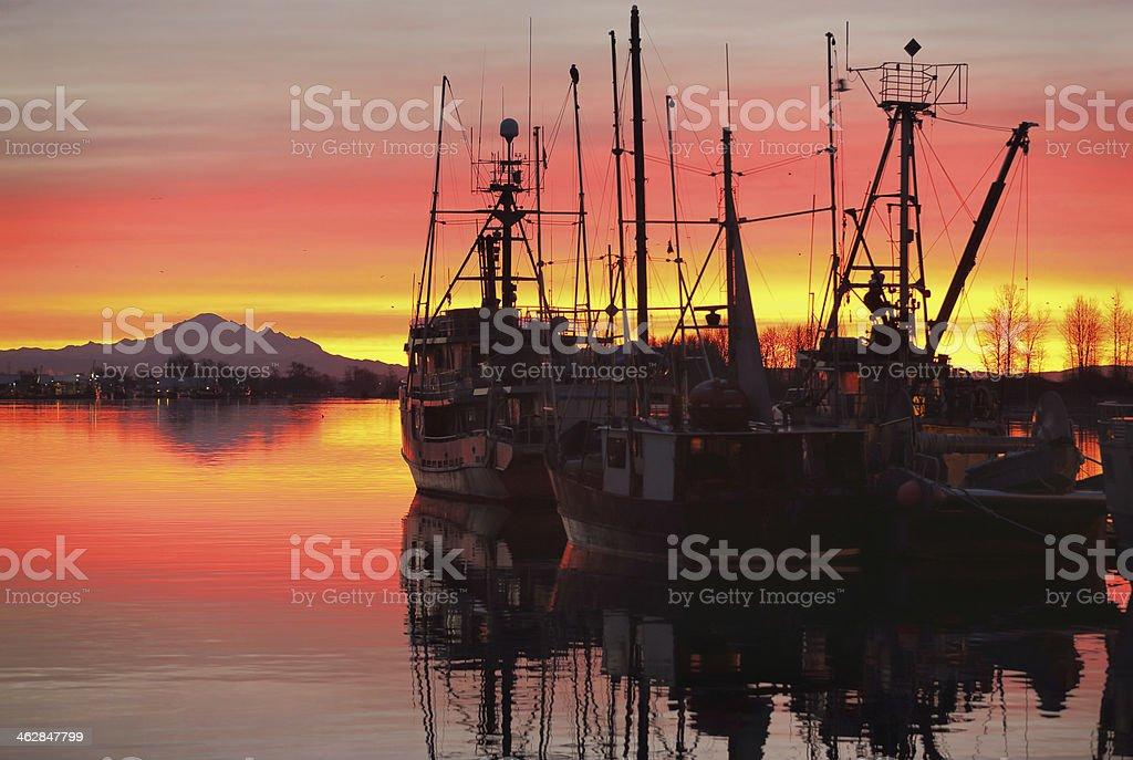 Fishing Fleet Sunrise, Steveston stock photo