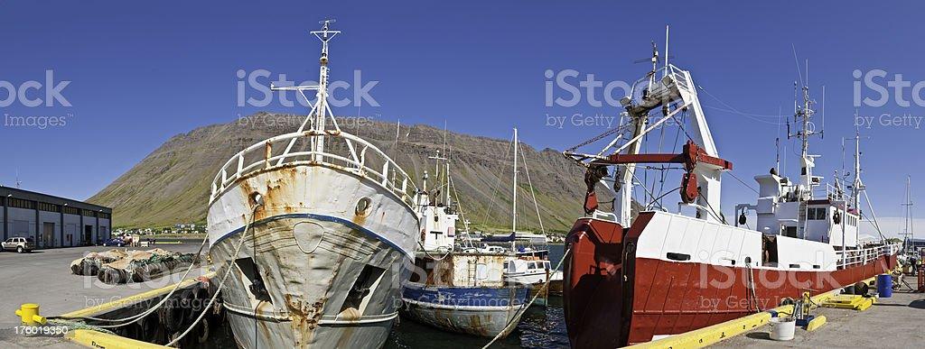 Fishing fleet trawlers harbor panorama Iceland royalty-free stock photo