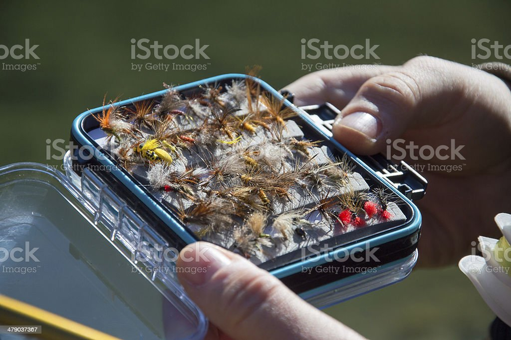 Fishing flys stock photo