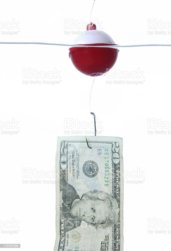 Fishing for money royalty-free stock photo