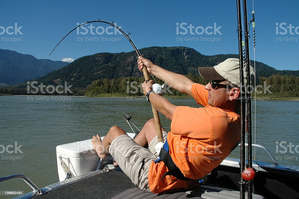 Fishing for Sturgeon on the Fraser River stock photo