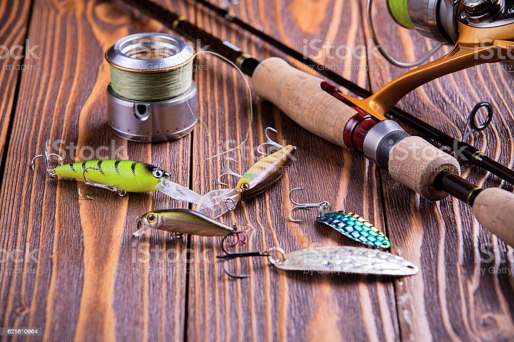 Fishing gear - fishing spinning stock photo