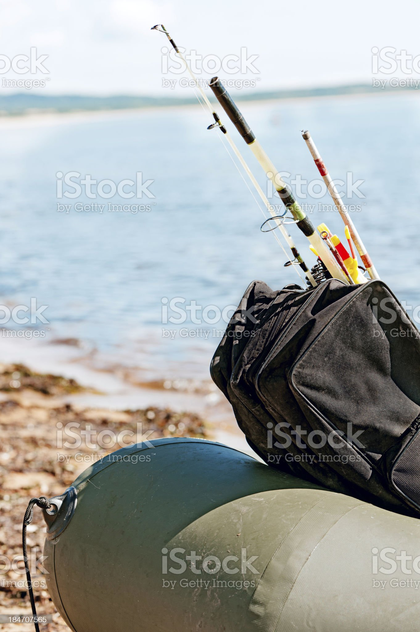Fishing gear in an inflatable boat after fishing. royalty-free stock photo
