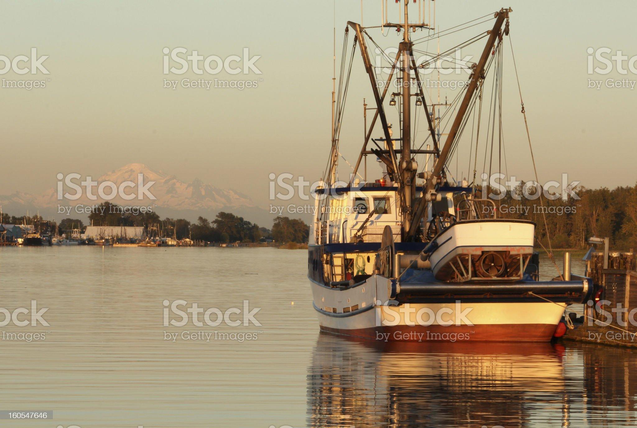 Fishing Harbor Evening royalty-free stock photo