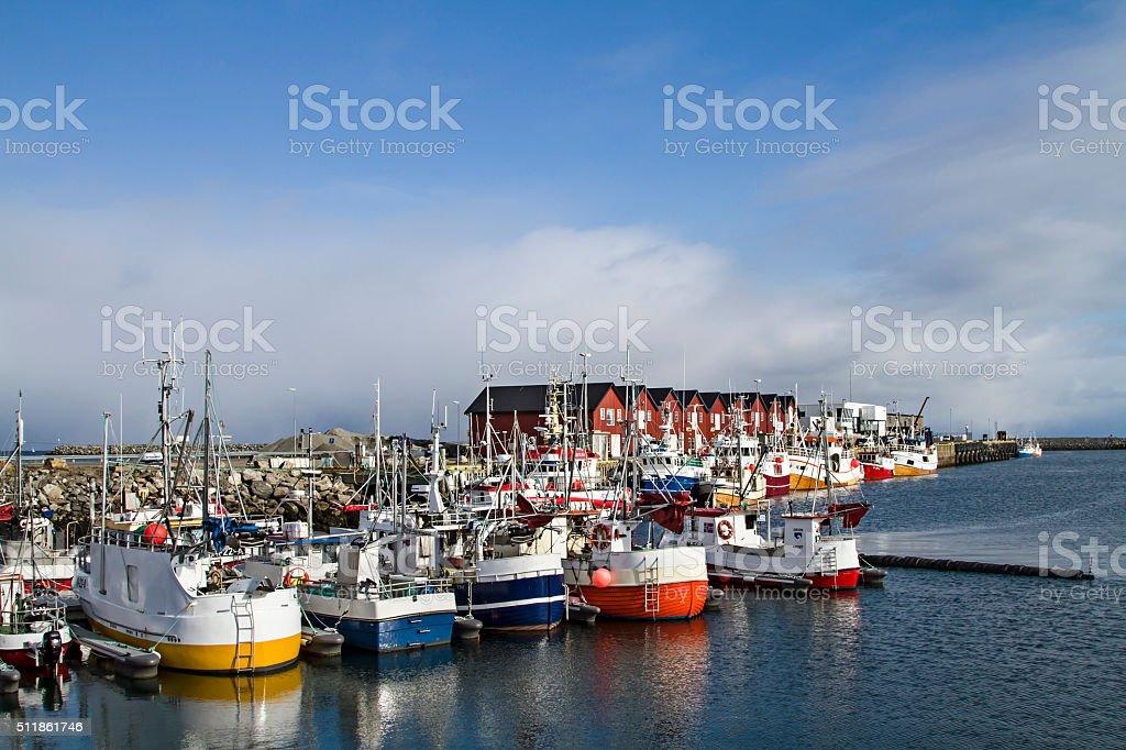 Fishing harbor of Andenes stock photo
