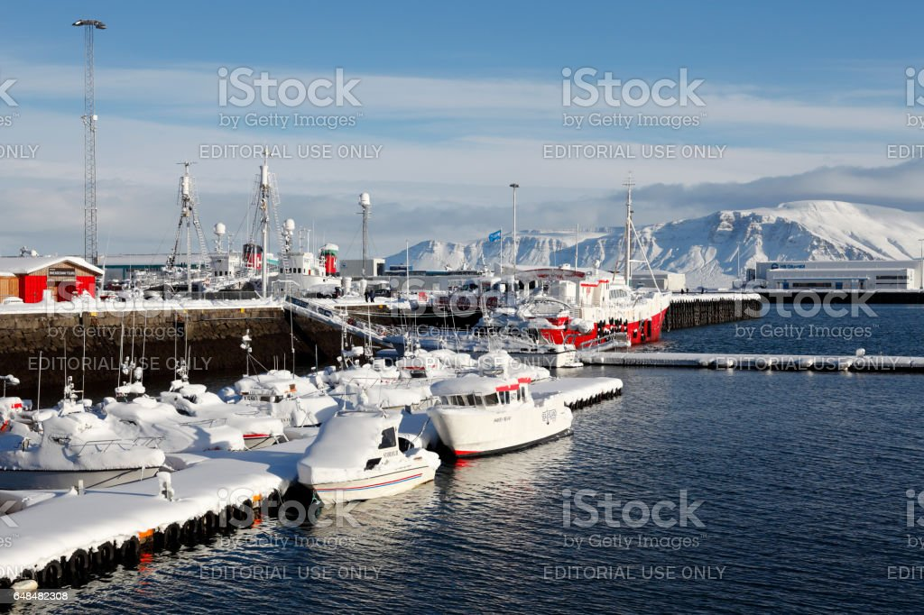 Fishing harbor of Reykjavik, Iceland stock photo