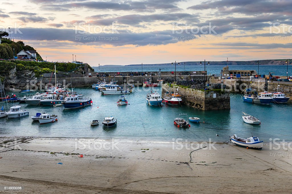 Fishing Harbour in Cornwall at Sunset stock photo