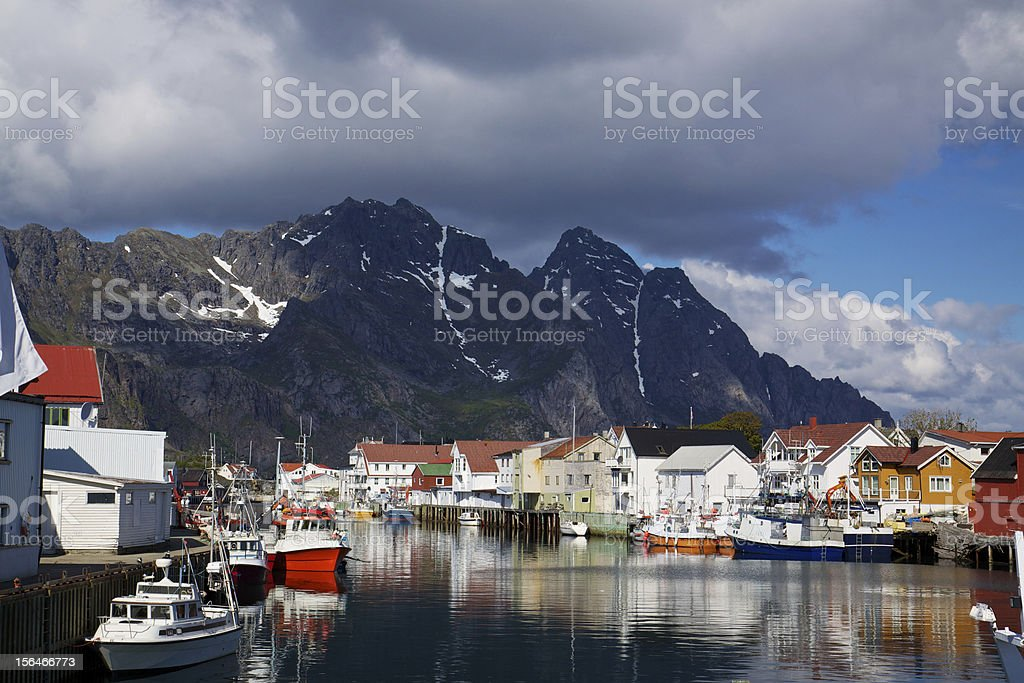 Fishing harbour in Henningsvaer royalty-free stock photo