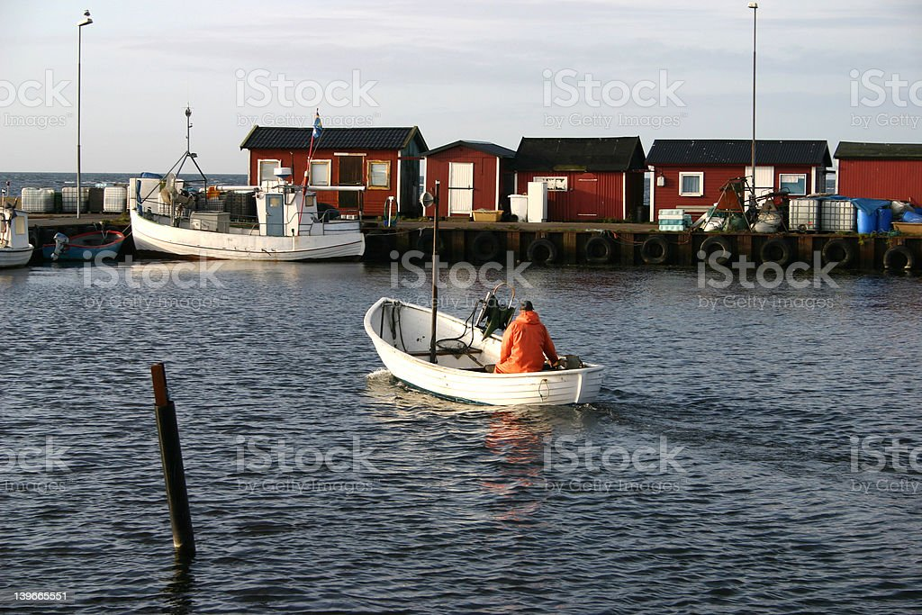 fishing harbour in skåre in sweden stock photo