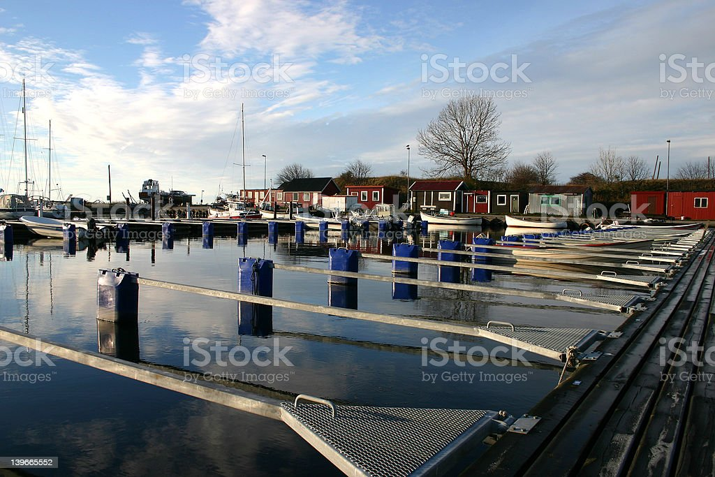fishing harbour in smygehuk in sweden stock photo