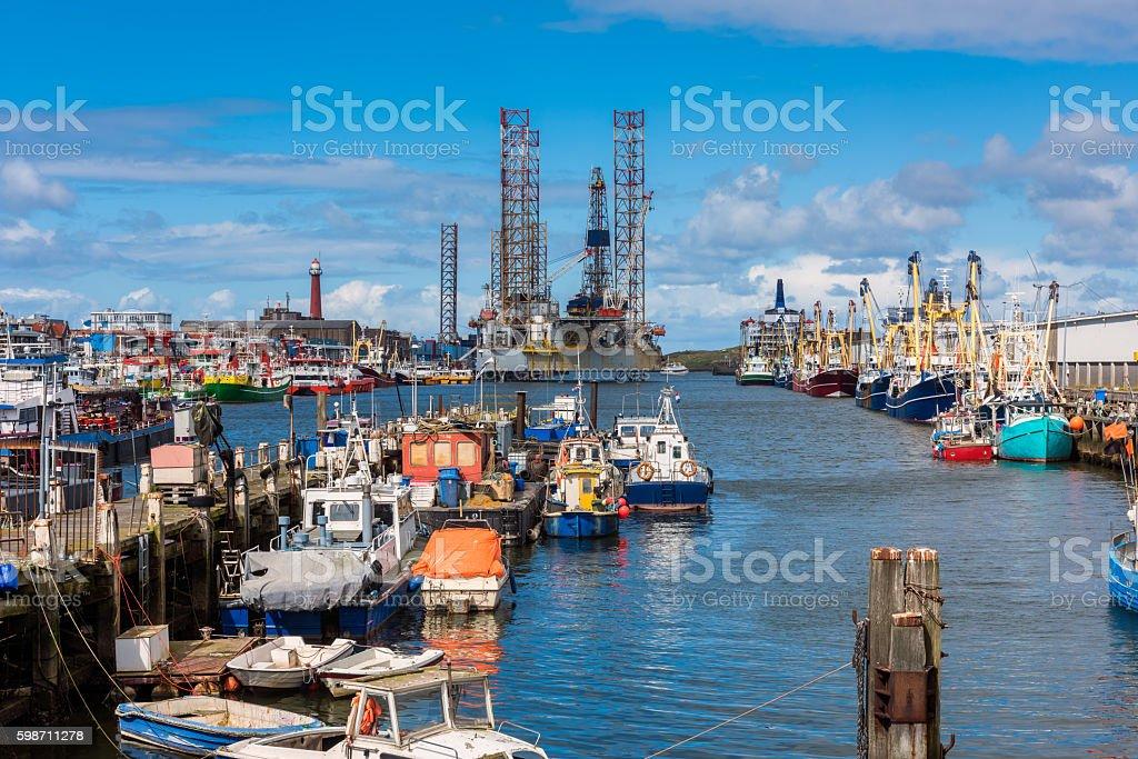 Fishing Harbour of IJmuiden Netherlands stock photo