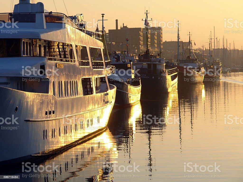 Fishing harbour stock photo