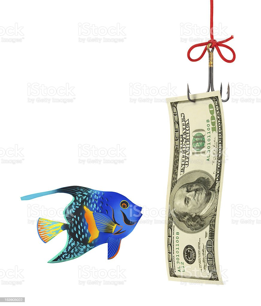 Fishing hook and money royalty-free stock photo