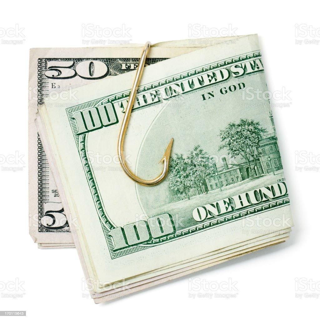Fishing Hook Money Clip stock photo