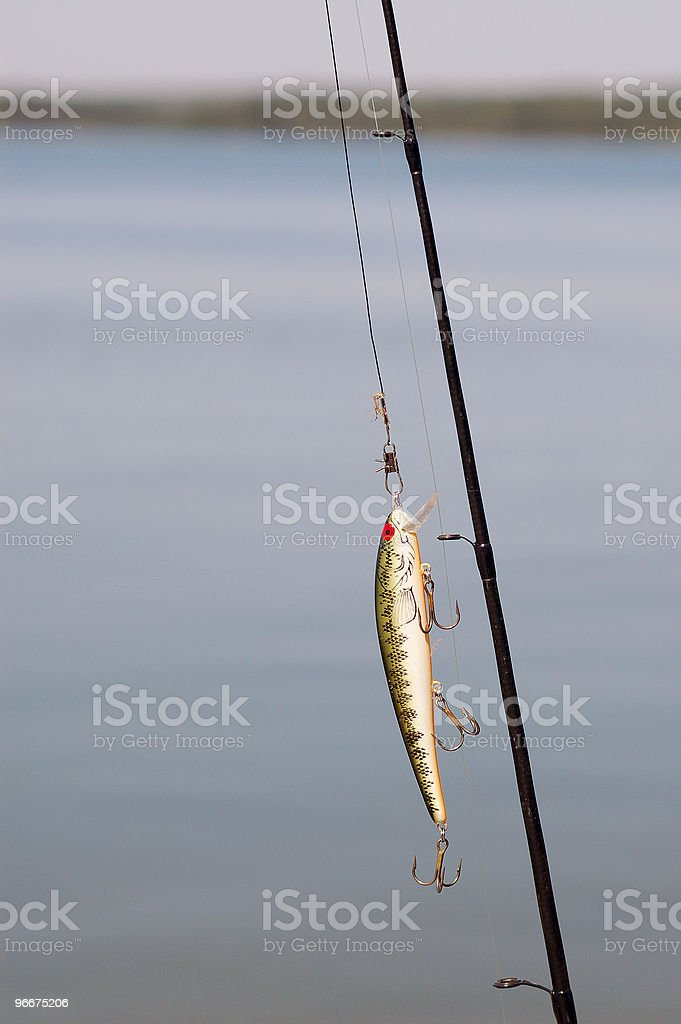 Fishing hook on rod stock photo