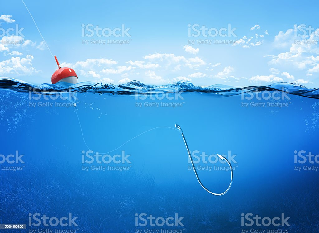 fishing hook underwater stock photo
