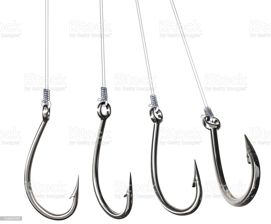 Fishing hooks in different angels stock photo