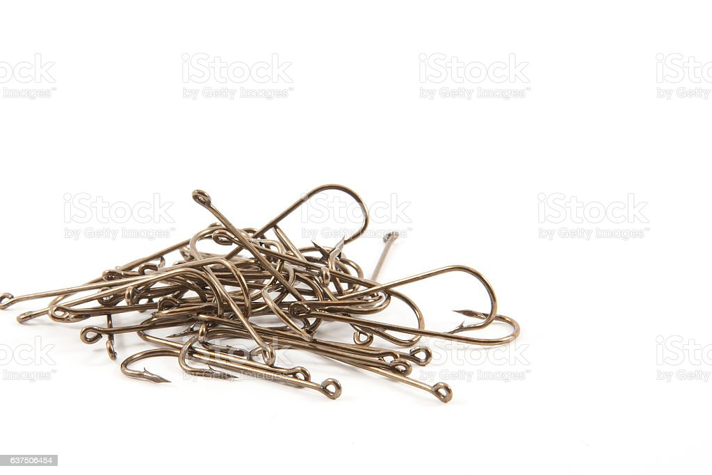 Fishing hooks stock photo