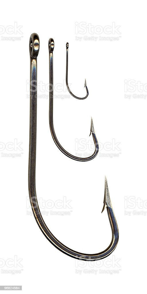 Fishing hooks royalty-free stock photo