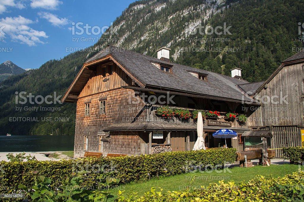 Fishing hut in St. Bartholomew, Germany, 2015 stock photo