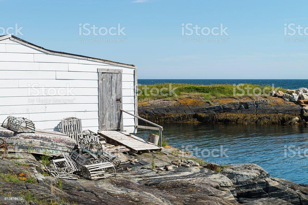 Fishing Hut, Nova Scotia coastline near Lunenburg, Blue Rocks village stock photo