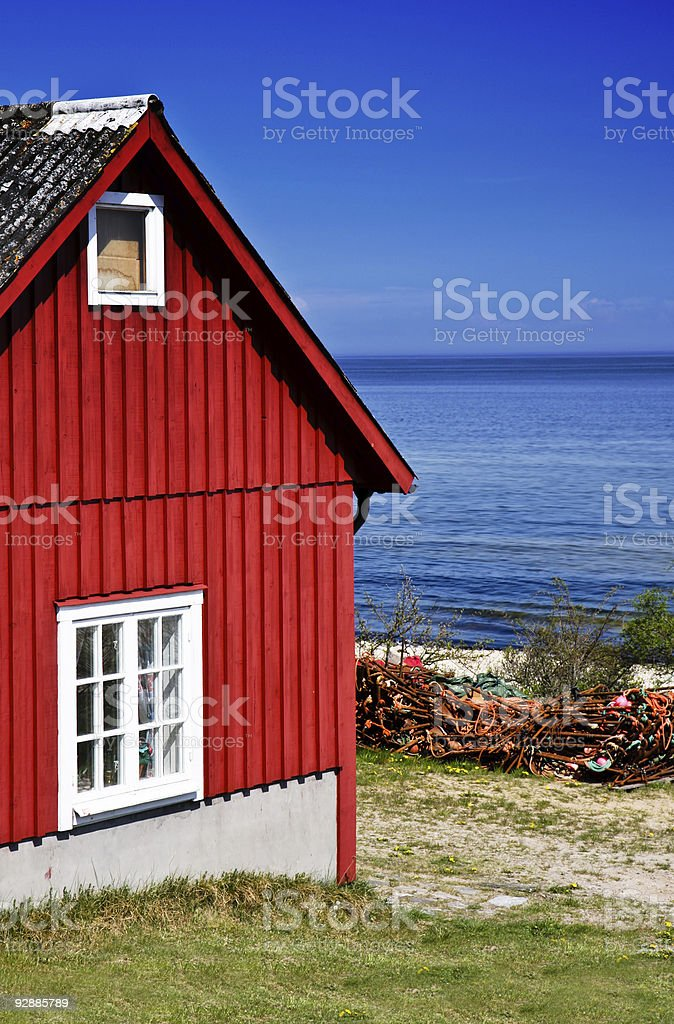 Fishing hut stock photo