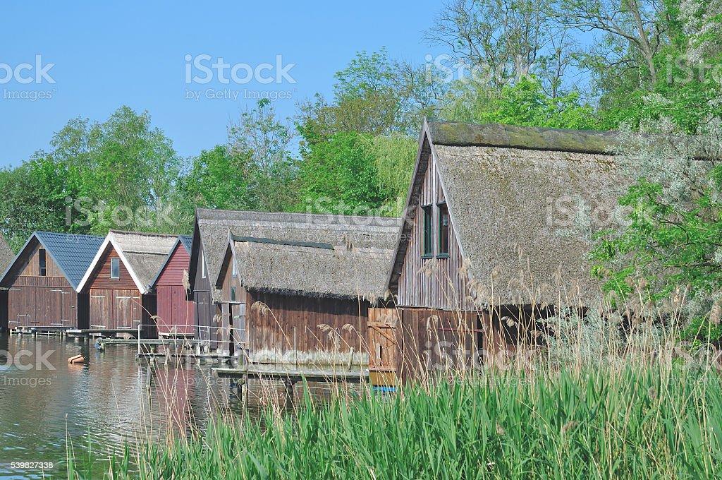 Fishing Hut,Lake Mueritz,Germany stock photo
