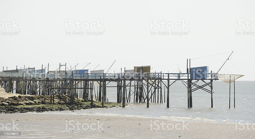 Fishing Huts at Talmont stock photo