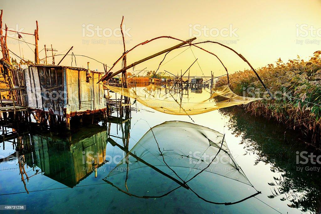 Fishing huts on Port Milena near Ulcinj city, Montenegro stock photo