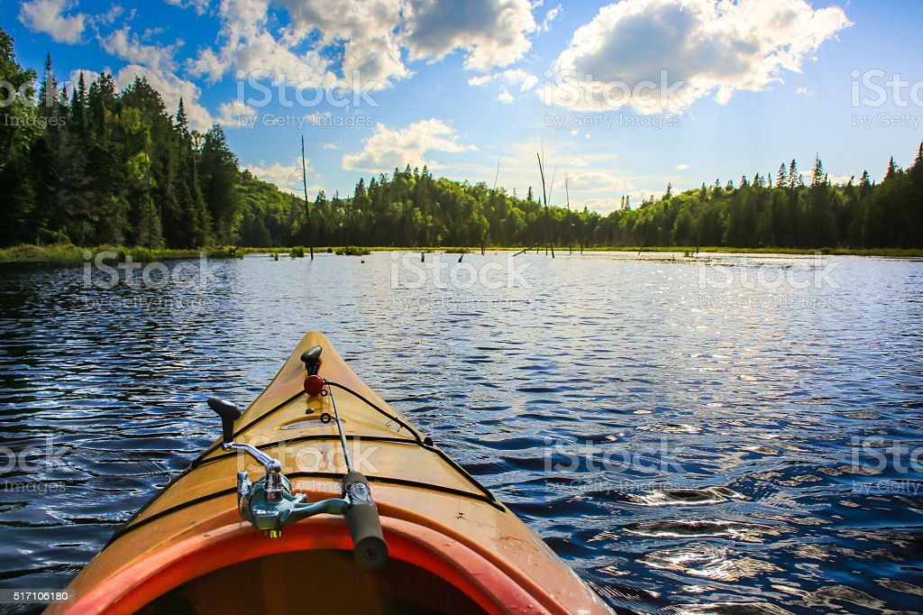 Fishing in a Kayak stock photo
